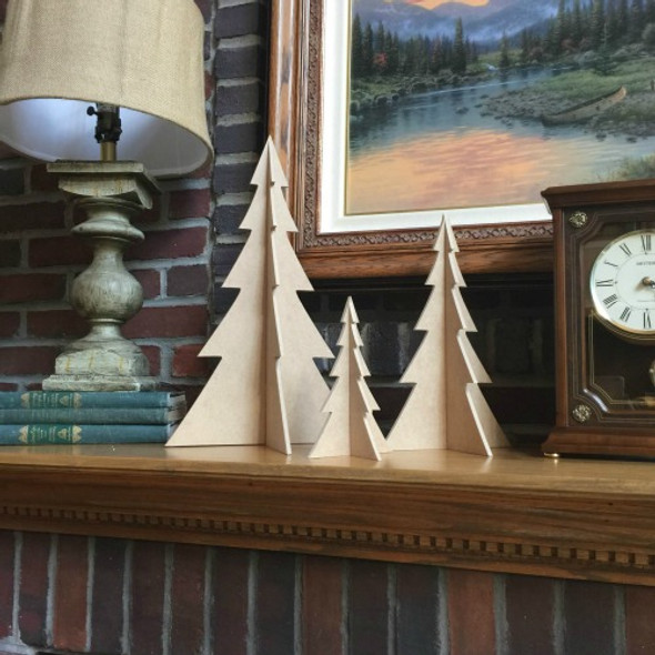 Free Standing Table Top Christmas Tree-O (set of 3) , Unfinished MDF