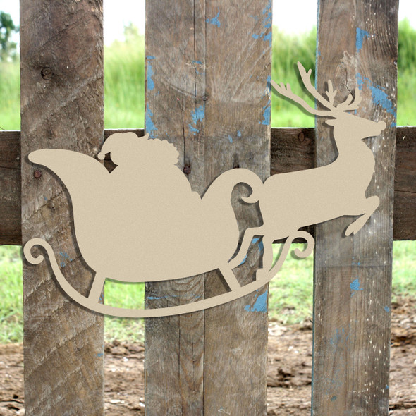 Santa's Sleigh and Reindeer Door Hanger Unfinished Cutout Wooden Shape