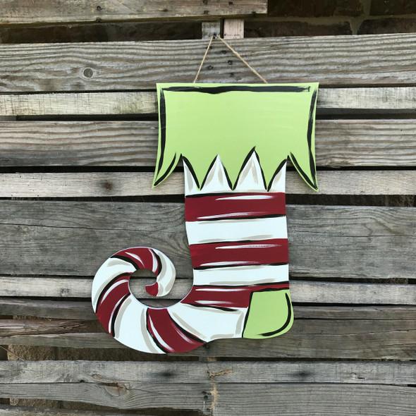 Unfinished Elf Stocking Cutout, Wooden Shape,  DIY Craft