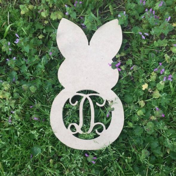 Snow Bunny Monogram Letter Wooden - Unfinished  DIY Craft
