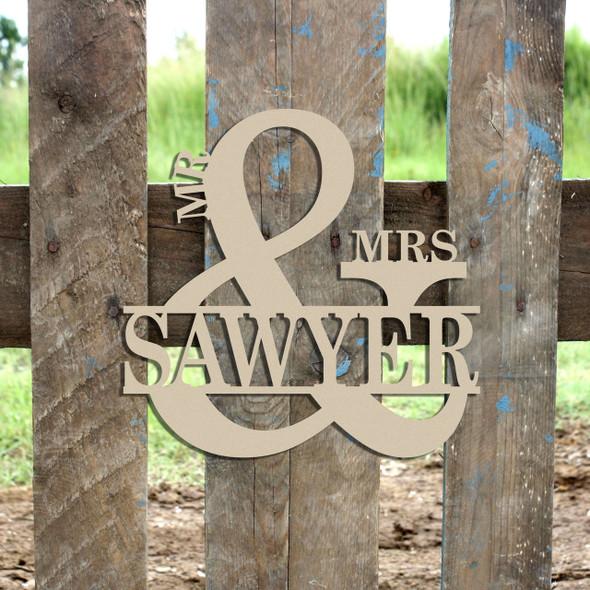 Mr & Mrs Name Frame Sign (2), Unfinished Framed Monogram