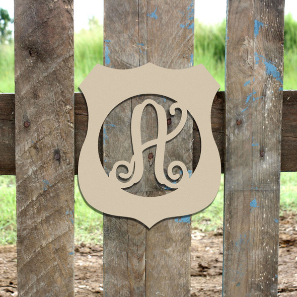 Police Badge Frame Monogram Letter Wooden Unfinished  DIY Craft