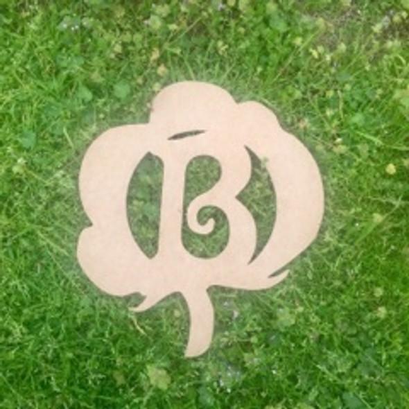Cotton Framed Monogram Beltorian  Letter, Frame Wooden, Unfinished