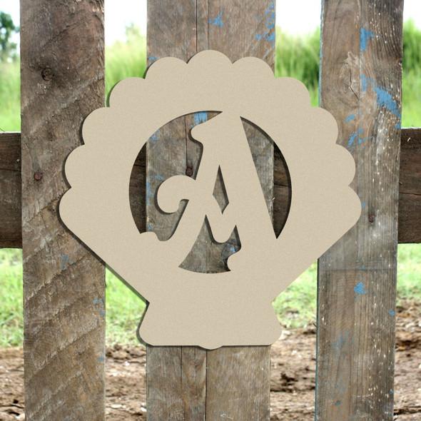 Seashell Monogram Beltorian Letter Wooden - Unfinished  DIY Craft