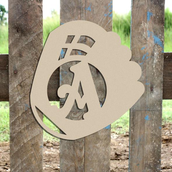 Baseball Glove Monogram Beltorian Letter Wooden - Unfinished  DIY