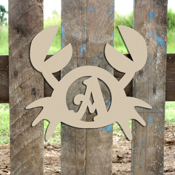 Crab Monogram Beltorian Letter Wooden - Unfinished  DIY Craft