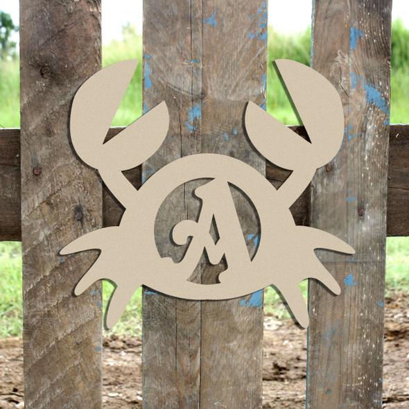 Crab Monogram Beltorian Letter Wooden - Unfinished  DIY Craft
