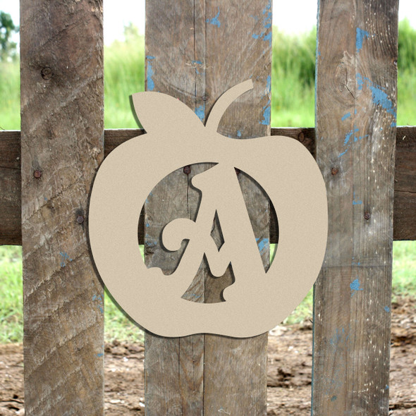 Apple Monogram Beltorian Letter Wooden - Unfinished  DIY Craft