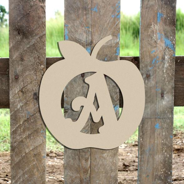 Apple Monogram Beltorian Letter Wooden - Unfinished  DIY Craft