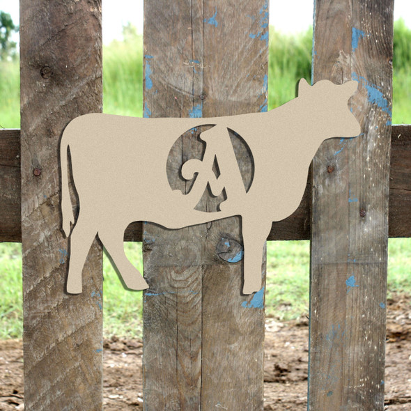 Cow Monogram Beltorian Letter Wooden - Unfinished  DIY Craft