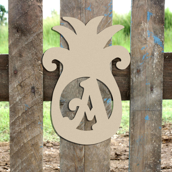 Pineapple Monogram Beltorian Letter Wooden - Unfinished  DIY Craft