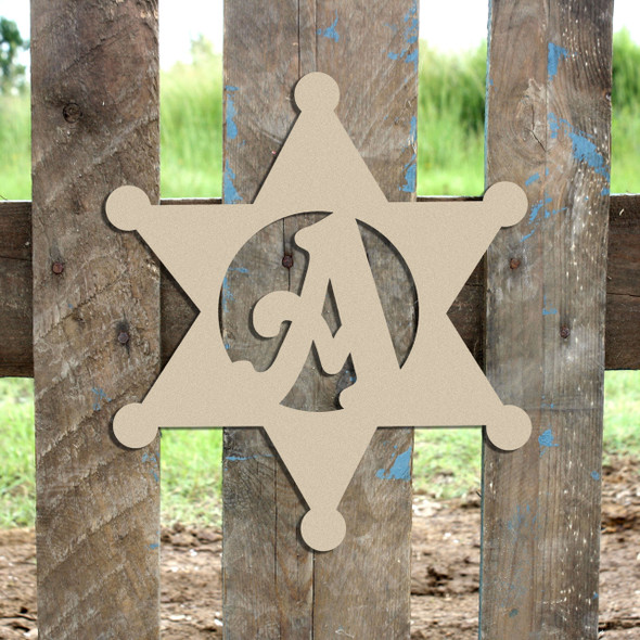 Sheriff Badge Monogram Beltorian Letter Wooden - Unfinished  DIY Craft