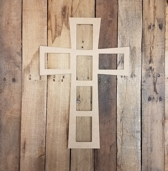 Cross Wall Decor Cross Picture Frame 6(4x6) Wood Art Unfinished Wood