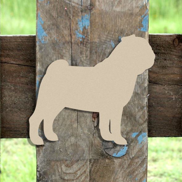Pug Unfinished Cutout, Wooden Shape,  Paintable MDF DIY Craft