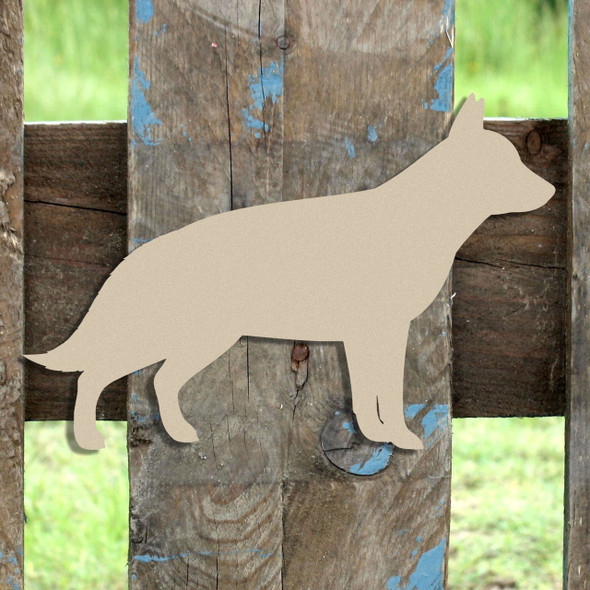 German Shepherd Unfinished Cutout, Wooden Shape,  Paintable MDF DIY Craft