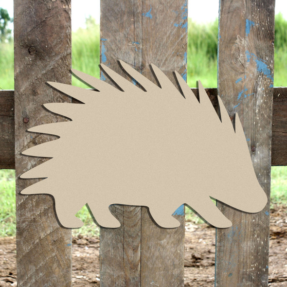 Woodland Porcupine, Unfinished Cutout, Wooden Shape,  Paintable MDF DIY