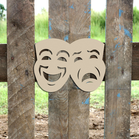 Comedy and Tragedy Mask Cutout, Wooden Shape, Paintable Wooden MDF DIY