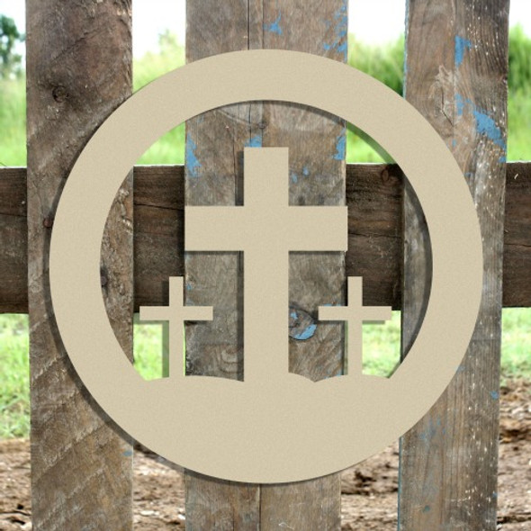 Easter Crosses in Circle Unfinished Cutout, Wooden Shape, Paintable