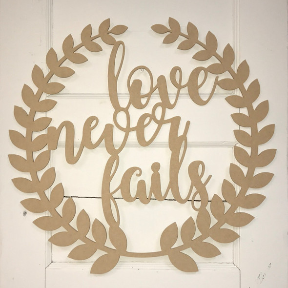 Roman Wreath - Love Never Fails, Unfinished Cutout MDF