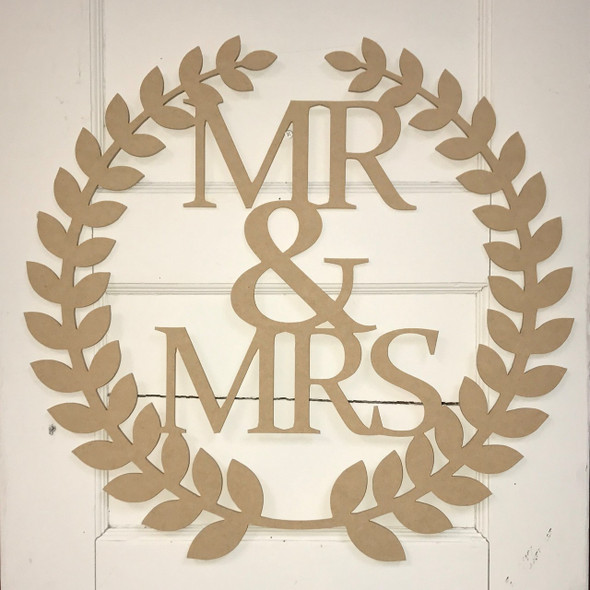 Roman Wreath - Mr & Mrs, Unfinished Cutout MDF