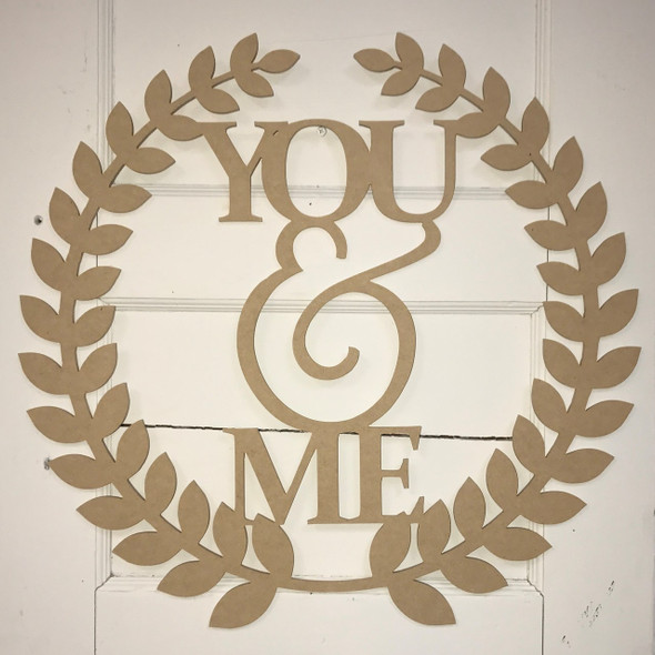 Roman Wreath - You & Me, Unfinished Cutout MDF