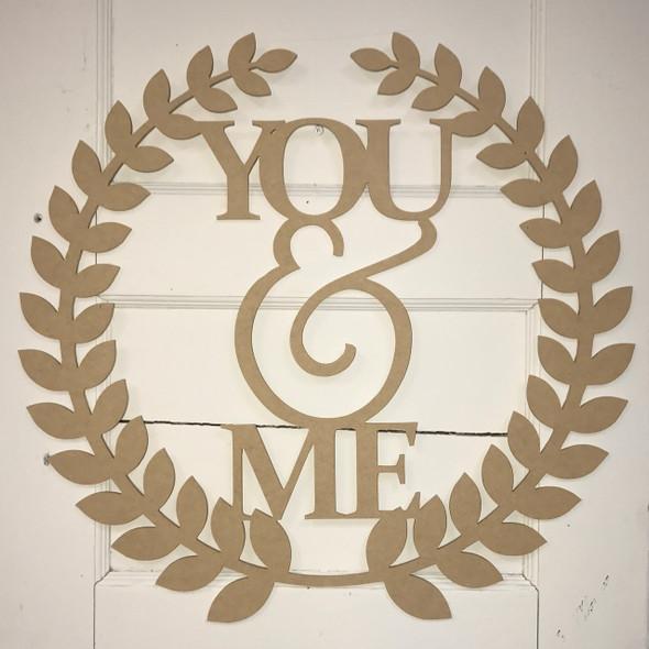 Roman Wreath - You & Me, Unfinished Cutout MDF