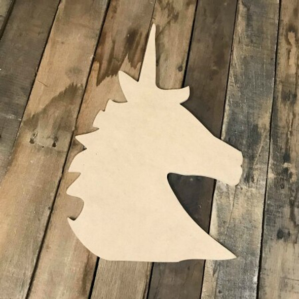 Unicorn Cut Out Head Unfinished