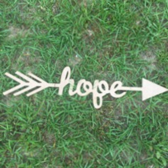 Arrow with word inside (hope) DIY Unfinished Craft Shape