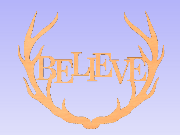 Wide Antler Block Believe Unfinished Cutout, Wooden Shape, MDF DIY Craft