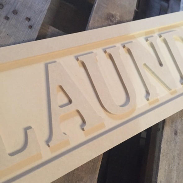 Engraved Wooden Sign 8'' x 31'' Laundry, Unpainted Wood Craft