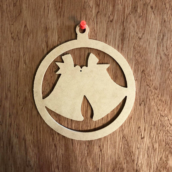 Christmas Ornament With Bells Shape Unfinished Cutout, Wooden Shape