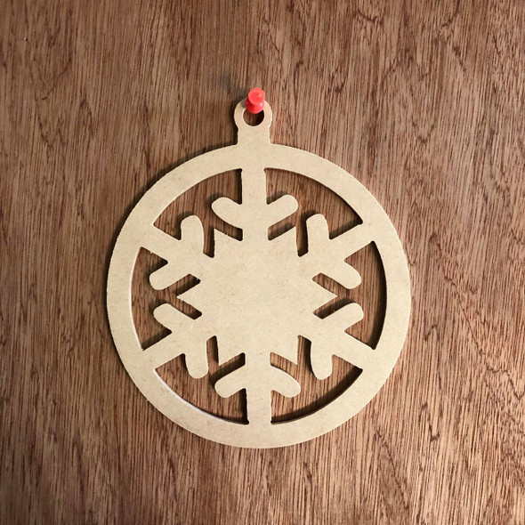 Christmas Ornament With Snowflake Shape Unfinished Cutout, Wooden
