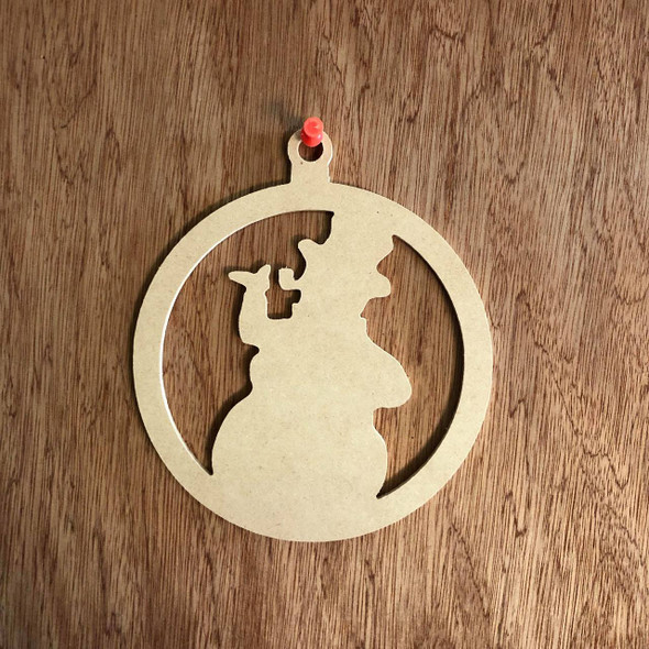 Christmas Ornament With Snowman Shape Unfinished Cutout, Wood