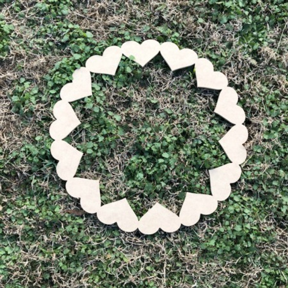 Heart Wreath, DIY Unfinished Wooden Valentines Shapes