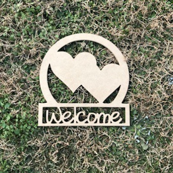 Wooden Valentine's Day Welcome Sign Double Hearts, Unfinished Craft Door Hanger