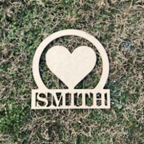 Valentine's Day  Name Frame Heart, Unfinished Framed Monogram