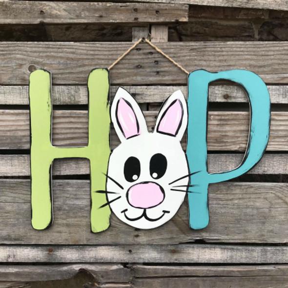 HOP Easter Sign Unfinished Wooden Door Hanger