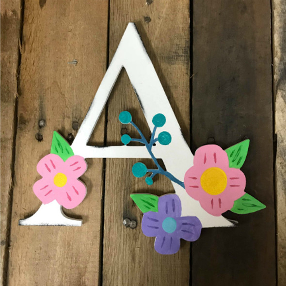 Wooden Floral Font Unfinished DIY Flower Letters Wooden Letter Decal