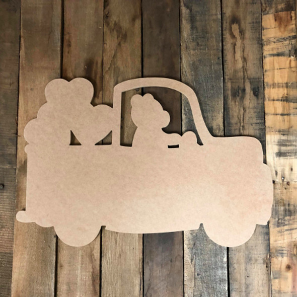 Bear Truck With Heart, DIY Unfinished Wooden Valentines Shapes Cut out