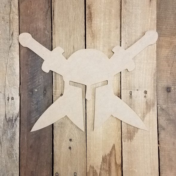 Spartan with swords Unfinished Cutout, Wooden Shape, Paintable Wooden MDF