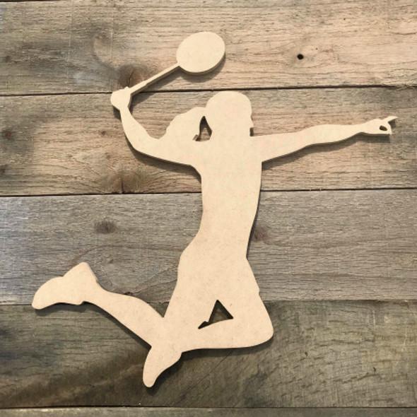 Badminton Player Swinging Wooden Sport Shape MDF