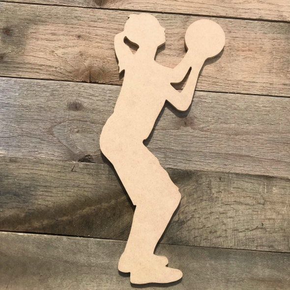 Woman Basketball Shooter Sport Wood MDF Paintable Cutout