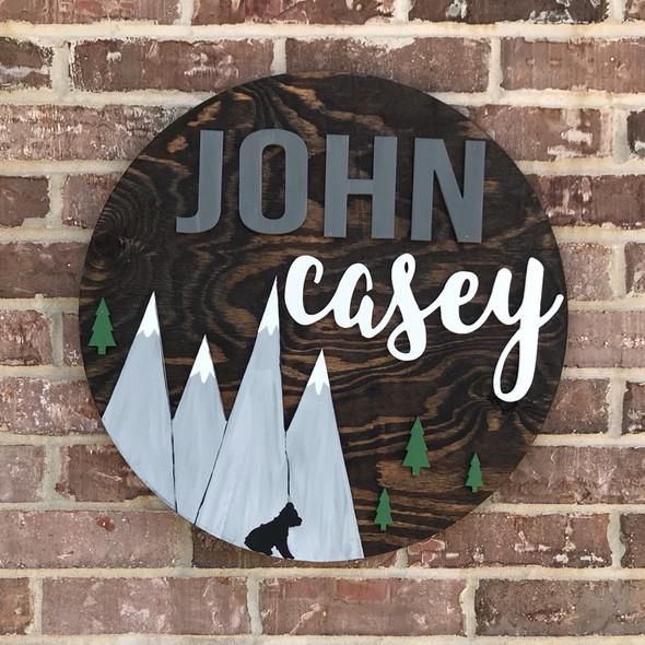 "22"" Pine Circle Nursery Name Sign Child Mountain Kit 5"