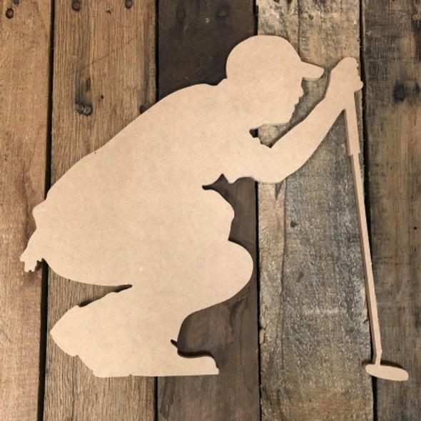 Golfer Crouching Unfinished Wooden Cutout Sport Craft