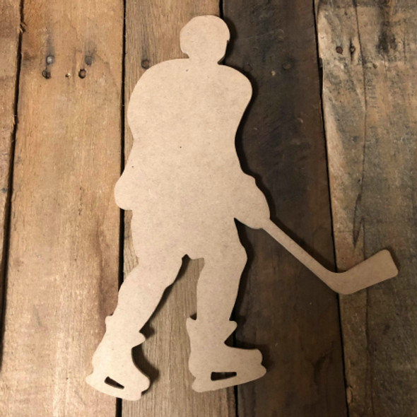 Hockey Player 2 Unfinished Cutout Hockey Wooden Shape