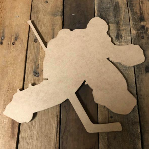 Hockey Goalie Player Unfinished Cutout Wooden Shape