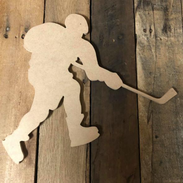 Hockey Player 3 Unfinished Cutout Wooden Shape