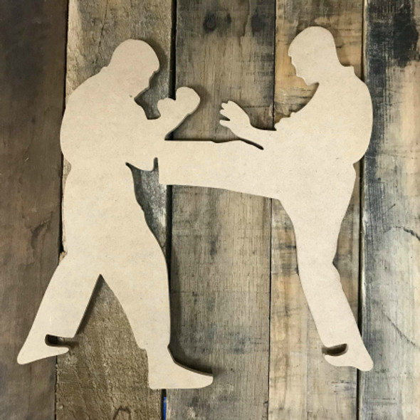 Karate Men Fighting Wooden Cutout Unfinished Wooden Craft Decor