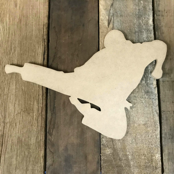 Karate Man Kicking Wooden Cutout Unfinished Wooden Craft Decor