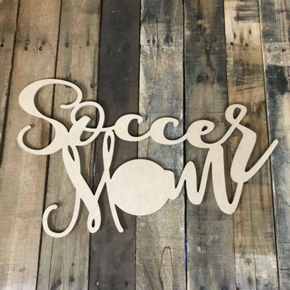 Soccer Mom Unpainted Unfinished Wooden Craft Decor